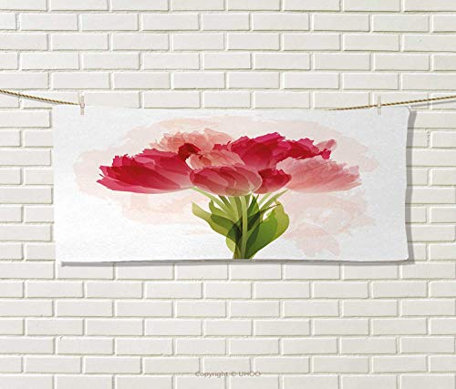 Floral,Hand Towel,Watercolor Painting Bouquet Tulip Flower Artistic Botanical Romantic Print,Quick-Dry Towels,Pink Coral Green Size: W 10