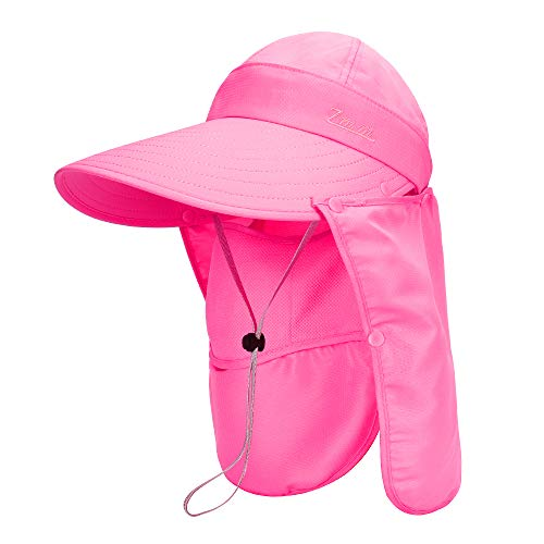 (MK MATT KEELY Women & Men Outdoor Sun Hat Fishing Hiking Caps Detachable Baseball Cap with Face Neck Flap Cover UPF 50+ Rose Red)