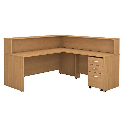 Bush Business Furniture Series C L Shaped Reception Desk with Mobile File Cabinet in Light (Reception L-shaped Office Desk)