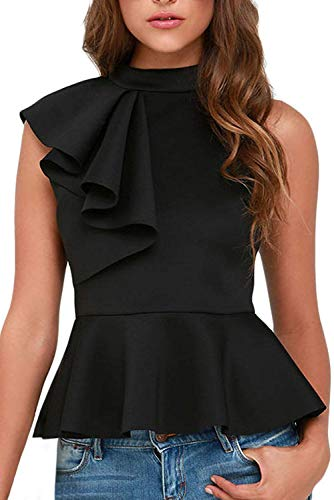 Shawhuwa Womens Sexy Asymmetric Ruffle Side Peplum Top Clubwear (X-Large, Black)