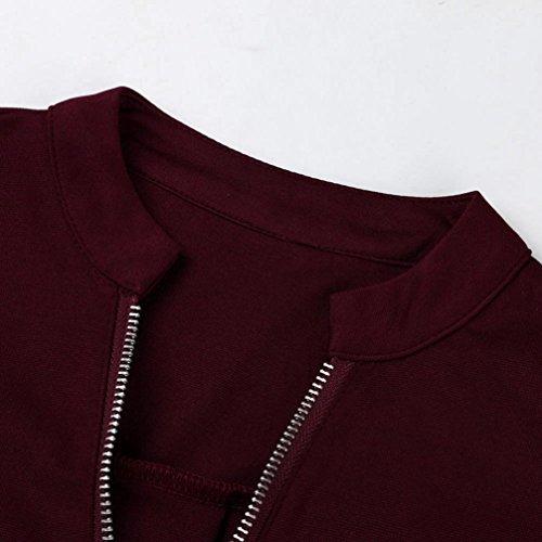 Chic Fit Femme Femme Printemps longues T Haut Tee Femme Femme saison Basique Chemisier shirt Mi Original Zipper Slim shirt Top V Col Longra Fille Manches Loose Blouses Rouge Uni Femme Femme w4tqXx