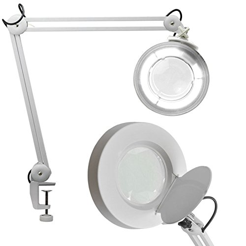 Danyelbeauty 5X Desk Table Clamp Mount Magnifier Lamp Light Magnifying Glass Lens Diopter For Sale