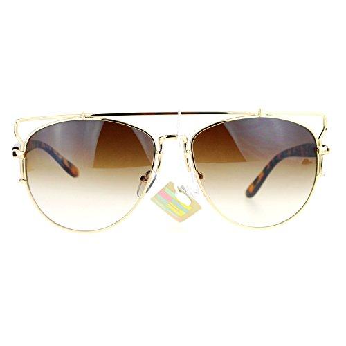 SA106 Unique Wire Frame Half Rim Style Aviator Sunglasses Gold - Trend Glasses Wire Rim