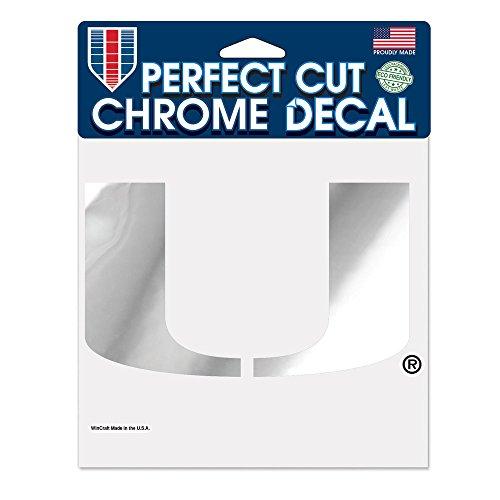 NCAA Miami Hurricanes Perfect Cut Chrome Decal, 6 x 6-Inch