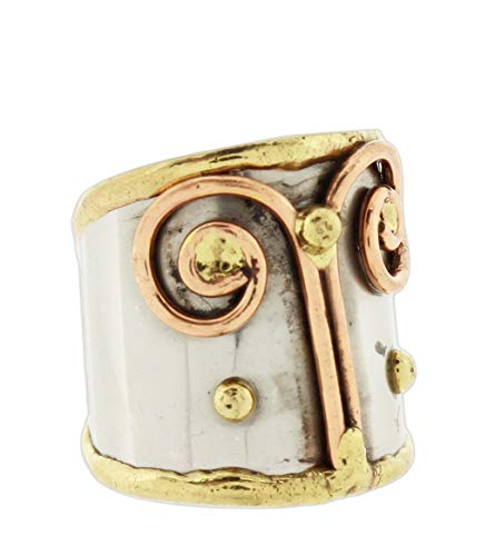 (Anju Cuff Ring Welded Mixed Metal Design - Copper, Stainless Steel, Brass (Simple Spirals))