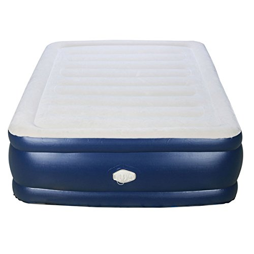 Airtek 2ABF04005 Deluxe Full-size Raised Flocked Air Bed With Built-in Pump, 600 Lb. Weight Limit, White/Blue by Airtek