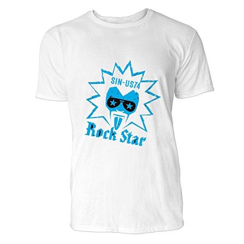 SINUS ART® Rock Musik Grafik Art Herren T-Shirts in Weiss Fun Shirt mit tollen Aufdruck
