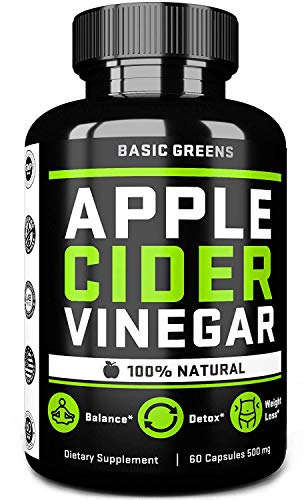 Apple Cider Vinegar Capsules - ACV Capsules With Cayenne Pepper For Fast Weight Loss Cleanse (60 Capsules | 500 mg) Formulated In USA | NON-GMO | GLUTEN FREE by BASIC GREENS