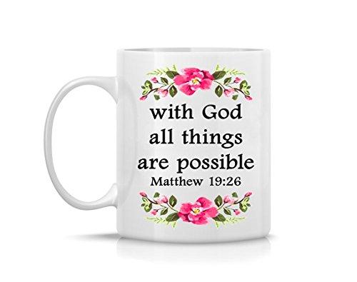 Matthew 19:26 Bible Verse Watercolor Art Print Coffee Mug 11oz, 15oz Dishwasher-Safe, Microwave-Safe (Dishwasher 26)