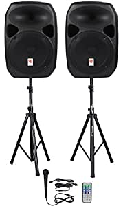 Rockville RPG122K 12-Inch Powered Speakers with Bluetooth, Mic, Speaker Stands and Cables