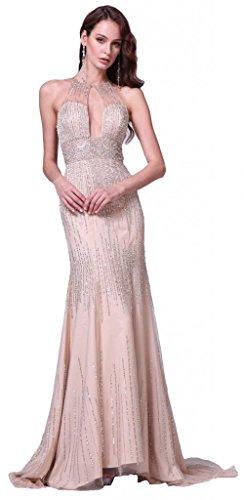 Meier Women's Mermaid Rhinestone Halter Open Back Prom Formal Dress Champagne-10