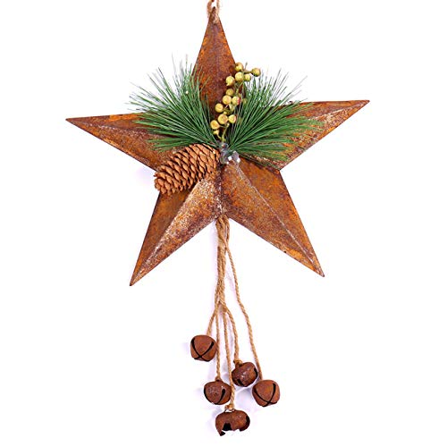 Christmas Door Decoration - Rusty Star Metal Wreath 13
