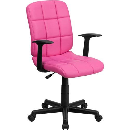 Parkside Mid-Back Pink Quilted Vinyl Swivel Task Chair Nylon Arms