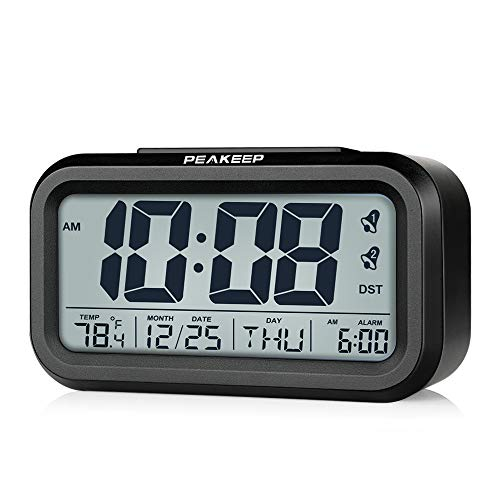 Peakeep DST Battery Digital Dual Alarm Clock, Low High Dimmer Nightlight, Multifunctional Clock with Calendar, Date, Day of Week, Temperature, 2 Alarms with Snooze (Black-DST)