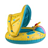 WINOMO Baby Swimming Float Boat with Sunshade Seat with Horn - Yellow