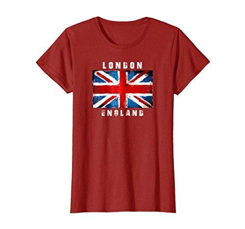 Union Wear Jack (Womens Union Jack London, England, Grunge T-Shirt, British Pride Medium Cranberry)