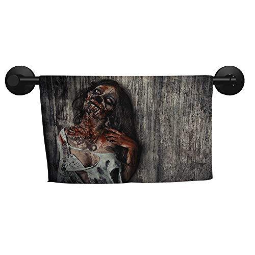 alisoso Zombie,Decorative Towels Angry Dead Woman Sacrifice Fantasy Design Mystic Night Halloween Image Bathroom Hand Towels W 28