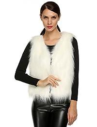 ACEVOG Women's Sleeveless Faux Fur Vest Jacket Waistcoat Outwear