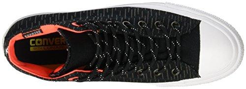 Converse Chuck Taylor II mit weißen Canvas Mode Sneakers Schwarz / reflektierende Lava