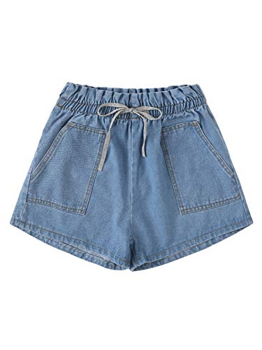 WDIRARA Women's Casual Mid Rise Drawstring Waist Pocket Detail Denim Jean Shorts Blue-2 M ()