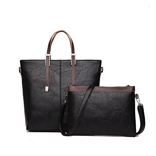 JIANFCR Bolsos de Hombro de Cuero de la PU de Las Señoras Bolsos de los Bolsos con con el Bolso Pequeño de la Manera 2pcs Set Set Tote Bag para Las Mujeres Negro