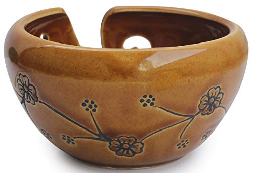 abhandicrafts - Deals of The Day - Ceramic Brown Yarn Bowl for Knitting, Crochet for Moms - Beautiful Gift on All Occasions. A for Moms and Grandmothers 6.5X4 Inch by abhandicrafts (Image #1)