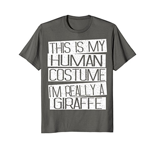 Mens Giraffe Halloween Costume Shirt - Funny Halloween Kids Gift Medium Asphalt for $<!--$15.95-->