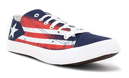 (Puerto Rico Flag Sneakers | Cute Fun Rican Nuyorican Gym Tennis Shoe - Women Men - (Lowtop, US Men's 8, US Women's 10) Blue)
