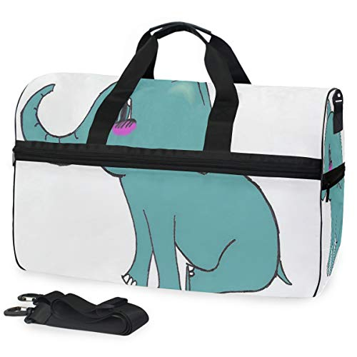 Cute Elephant Gym Bag with Shoes Compartment Sports Swim Travel Overnight Duffels
