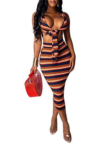 Ophestin Women Sleeveless Tank Top V Neck Tie Front Ribbed Stripe Print Crop Top Bodycon Skirts 2 Piece Outfits Midi Pencil Dress Set Brown XL