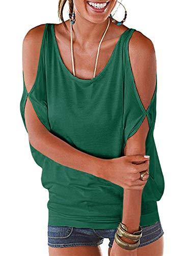 PINUPART Women's Summer Cold Shoulder Shirring Drape Shirt Top S deep Green
