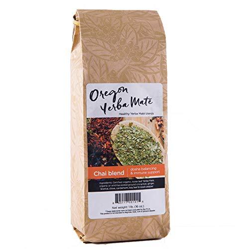 Oregon Yerba Mate Loose Leaf Tea, Chai Blend [Cinnamon, Licorice, Ginger, Clove, Cardamom, Bay Leaf, Black Pepper], Organic Alkaline Caffeine. 16 Ounce Bag