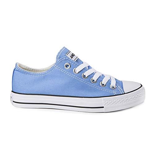 Ocasionales De Flat Colores Top Mujeres Lona Deporte Sólidos Claro Z Low Azul ANDY up Lace De Zapatillas Las De Zapatillas Txvc1Iw