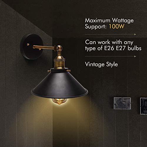 Wall Sconces 2-Pack JACKYLED UL Black Hardwire Industrial Vintage Wall Lamp Fixture Simplicity Bronze Finish Arm Swing Wall Lights by JACKYLED (Image #1)