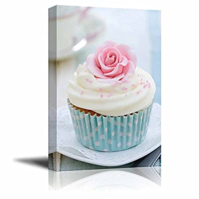 Canvas Prints Wall Art - Cupcake Decorated with a Pink Sugar Rose - 16