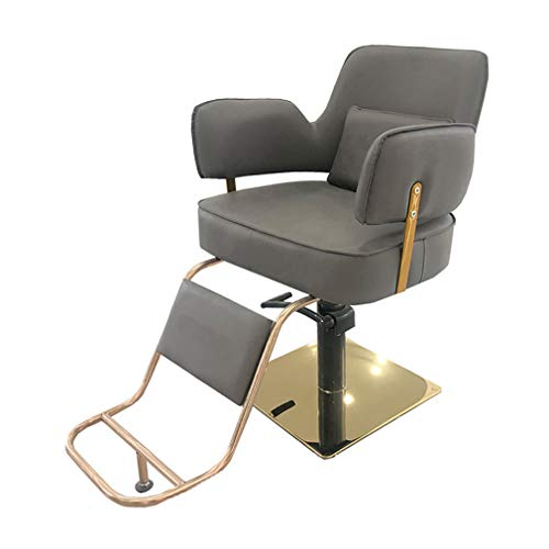 COMO Hydraulic Barber Chair,Salon Chair for Hair Stylist,Tattoo Chair, Shampoo Salon Equipment,Simple, High-End, Square Chassis, Gray