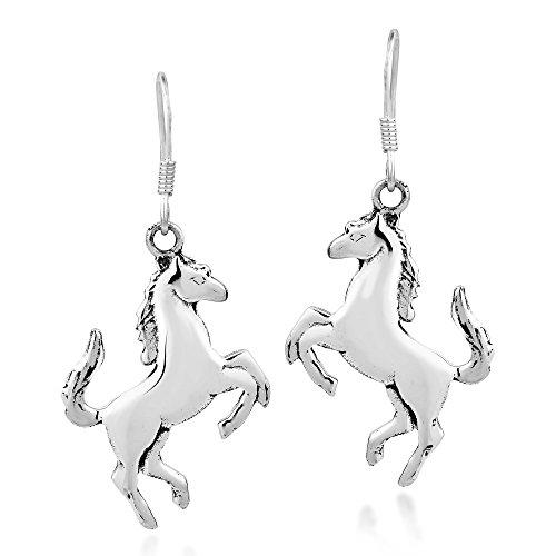 (Prancing Equine Horse .925 Sterling Silver Dangle Earrings )
