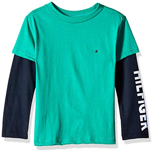 Tommy Hilfiger Boys' Dustin-Bex Jersey Long Sleeve Tee, Hit Green Lake M 12/14 ()