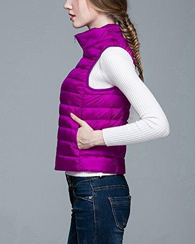 Plumón Chaquetas Ligero Mujer Chalecos de Plegable Chaleco Acolchado Púrpura Down wqYIdp5