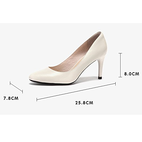 De Mouton 36 Chaussures Chaussures Hauts De EU Mode en Femme Beige Travail 8cm Confortables UK Nightclub WeddingDaphne Cour Sexy Noir 4 Party Peau Talons 7qc1OS4