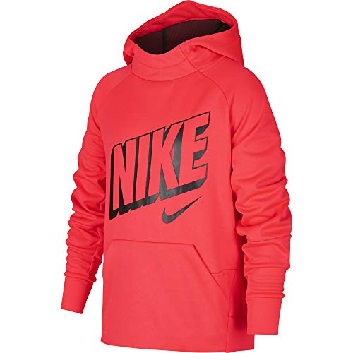 Crimson Pullover Hoody - Nike Boy's Therma Graphic Training Pullover Hoodie Bright Crimson/Black Size Small