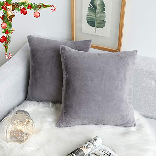 Kevin Textile Pack of 2, Fashion Classic Luxury Fluffy Crystal Mink Faux Rabbit Fur Decorative Square Throw Pillow Covers Cushion Case for Livingroom, 18