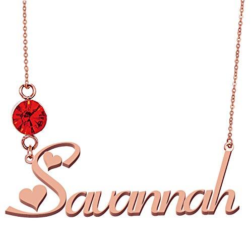 HUAN XUN Birthstone Name Necklace Personalized Name Savannah from HUAN XUN