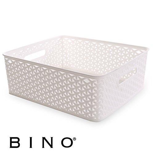 BINO T-Weave Woven Plastic Storage Basket, Medium (White)