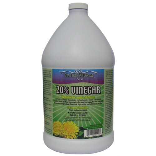 Natural Weed Control (20% Vinegar Herbicide for Control of Weeds, Nature's Wisdom, Gallon, Distilled White Vinegar)