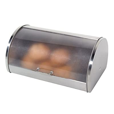 Oggi Stainless Steel Roll Top Bread Box with Tempered Glass Lid