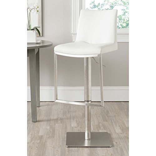 Safavieh Home Collection Ember White Leather Adjustable Gas Lift 22-31.9-inch Bar Stool