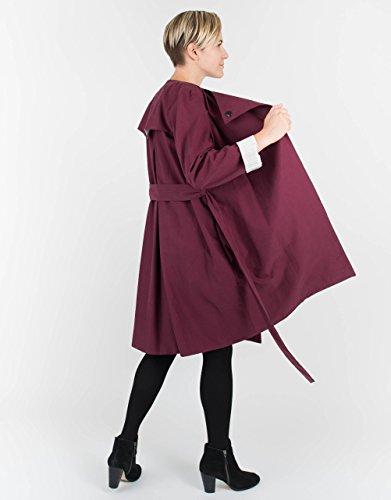 Long Sleeve Belted Burgundy Trench Coat by BAUH designs