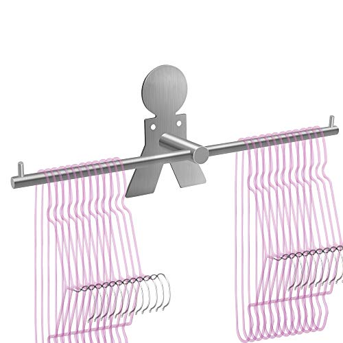 Picowe Clothes Hangers Storage Stacker Rack Holder Organizer, Wall Mounted, Adhesive or Drilling Installation, 304 Stainless Steel