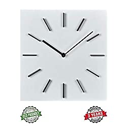 MOTIN Wall Clock, Quality Quartz Decorative Battery Operated Wood Wall Clocks, 12 Non-Ticking Easy to Read Home/Office/Classroom Square Clock